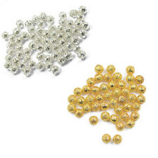 100x Silver Gold Filigree Round Spacer Beads Charms 6/8mm For Jewelry Making DIY