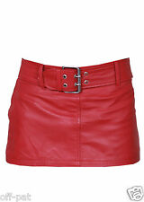 Sexy Butter Soft Womans RED LAMBS LEATHER MINI SKIRT & BELT  All Sizes