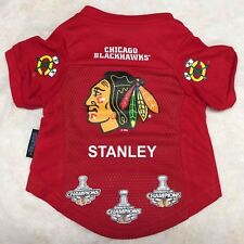 Chicago Blackhawks Dog Jersey with Stanley Cup logos Personalized Dog Jersey