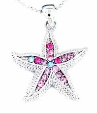 New Stunning Starfish Silver Tone Multi Color Crystal Pendant Necklace