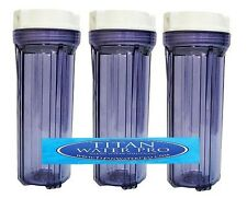"""3 WATER FILTER CLEAR HOUSING FOR REVERSE OSMOSIS DI 10"""" Housing - 1/4"""" Port"""