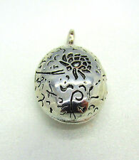 Solid 925 Sterling Silver Peony Flower Oval Locket Pendant Necklace Box Chain