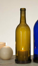 """Wine Bottle Candle Chimney 750mL - Choose Your Color with Metal Base, 11"""" Tall"""