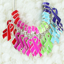 Ribbon Breast Cancer Awareness Spacer Charm Beads Fit European Bracelet Necklace