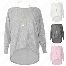 NEW LADIES LONG LOOSE FIT NECKLACE BATWING TOP JUMPER WOMENS HILO HEM MARL KNIT