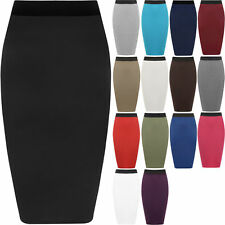 New Womens Ladies Stretch Office Plain Bodycon Midi Pencil Skirt Plus Size 8-26