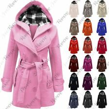 New Womens Ladies Belted Fleece Hooded Coat Button Long Sleeve Warm Jacket Top