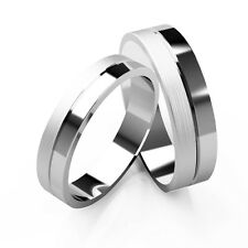 Matching Wedding Rings His And Hers 9ct White Gold Bands Patterned Set 4+5mm