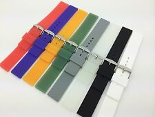 18mm Black White Smooth Plain Rubber Silicone Soft Watch Band Sport Waterproof