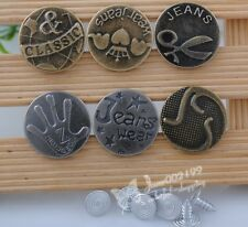 20PCS LOOK INSIDE BINDING NO-SEW HOLE JACKET JEAN TACK BUTTONS