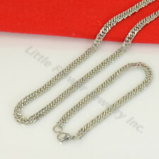Men Stainless Steel 24''x 5mm Silver Cuban Curb Chain Necklace Gross Pendant