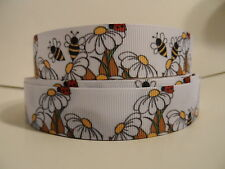 """Grosgrain Ribbon, Daisy Flowers with Bumble Bees & Lady Bugs, Nature 7/8"""""""