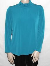 NEW Susan Graver Plus 1X Essentials Liquid Knit Ruched Neck Long Sleeve Top