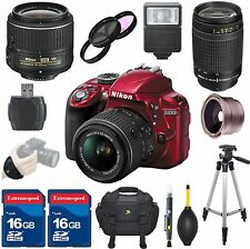 Nikon D3300 DSLR Camera Body (Red) + Nikon 18-55mm VR II + Nikon 70-300mm G Lens