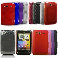 Silicone Hydro Gel TPU Circle Hard Hybrid Back Case Cover For HTC WILDFIRE S G13