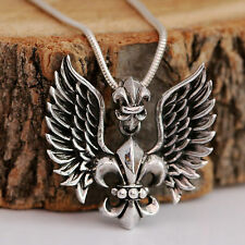 Sterling Silver Angel Wings Fleur de Lys Cross Pendant With Snake Chain Necklace