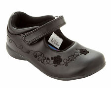 GIRLS BLACK SCHOOL SHOES LOW HEEL FLAT SMART FORMAL PARTY DOLLY SHOES SIZE 6-12