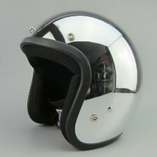 Unisex Chrome Vintage Motorcycle Helmet 3/4 Open Face Motorcross DOT