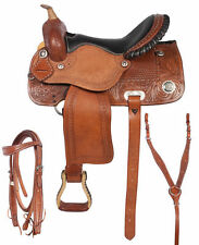 NEW WESTERN LEATHER BARREL RACING TRAIL PLEASURE HORSE SADDLE WITH TACK SET