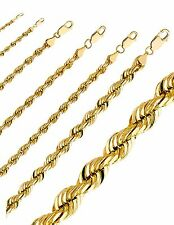 "Yellow 10K Rope Chain Diamond Cut Gold Necklace Men Women 1.8MM-5.0MM, 14""- 30"""