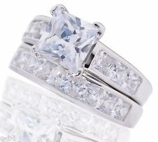 White Gold Princess Cut 7.53ct White Sapphire CZ Engagement Silver Ring Set