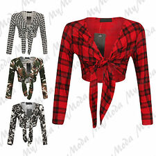 Women's Long Sleeve Tartan, Army Tie up Ladies Bolero Shrug Cardigan Top 8-22