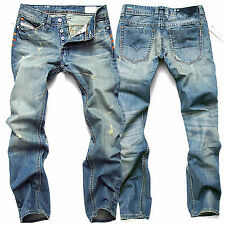 Mens Designer Jeans Straight Slim Fitted Washed Denim Pants Skinny Trousers New