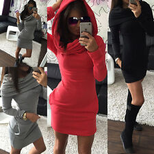 Women Hooded Cheap Casual Party Dress Lady Bodycon Dresses Red Black size 6 8 10