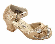 GIRLS GOLD GLITTER DIAMANTE BRIDESMAID WEDDING PARTY SANDALS SHOES UK SIZE 6-3