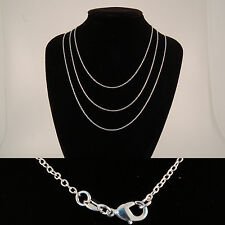 """Silver Plated Fine Curb Chain 1mm Wide Mens Womens 16"""" 18"""" 20"""" 22"""" 24"""" Necklace"""