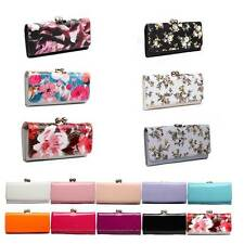 Womens Designer Faux Patent Leather Clutch Purse Ball Clasp Wallet