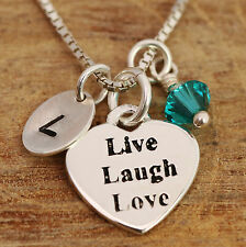 Sterling Silver Personalised Live,Laugh,Love Heart Pendant Necklace & Birthstone