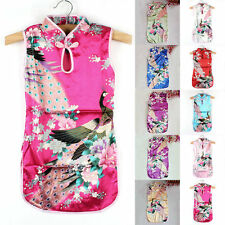 Chinese Qipao Baby Girl Kids Floral Blossom Peacock Cheongsam Dress Costume