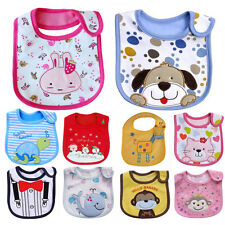Baby Cute Towel Saliva Waterproof Kids Cartoon Toddler Infant Bibs 3 Layers