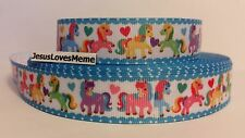 """Grosgrain Ribbon, Colorful Ponies Horses with Hearts, Turquoise Border, 7/8"""""""