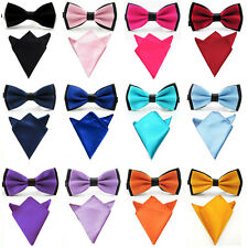 Men Pre-tied Dual Satin Bow Tie Bowtie Pocket Square Handkerchief Hanky Set New