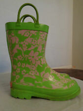 LILLY PULITZER Via Palm Beach rubber rain boots girl's youth 12 pink & green