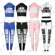 Ladies Women's Love Fitness Cropped Top Hoodie & Joggers Tracksuit Set SM ML