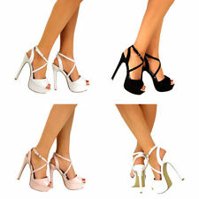 Ladies Barely There High Heel Platform Ankle Strappy Buckle Party Shoes