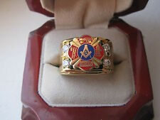 "Superb NEW! Gold Mens ""Masons Firefighters"" Crest Ring"