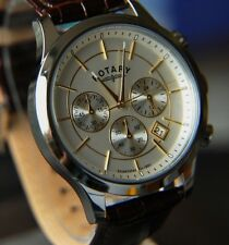 NEW Genuine Rotary Men's Two Tone Brown Strap Chronograph Watch RRP £180