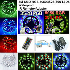5050 3528 12V 5M SMD RGB 300LED Strip Light 44Keys IR Remote Controller +Adapter
