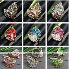 Womens Leaf Crystal Glass Rhinestone Cocktail Party Adjustable Finger Ring Gift