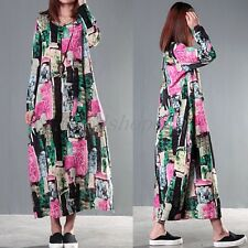 Loose Maxi Plus Size Floral Print Women Long Dress Linen Gown Flok Style 3900
