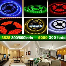 12V 5M 5050 3528 300 600 Leds SMD LED Flexible Waterproof Strip Light+Connector
