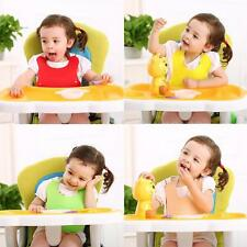 Baby Boys Girls Kids Lunch Bibs Foldable Waterproof Silicone Feeding NEW O0G5