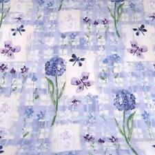 "Violet Purple Butterflies & Flowers on White Soft Cotton Fabric, 57"" W by MM"