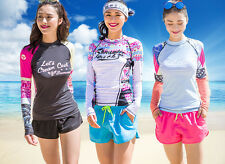 Woman Long Sleeve Rash Guard Swim Shirt Surfing Top Swimwear Sun Shirt Surf Top