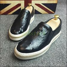 Mens Spring Cow Leather Vintage Slip On Shoes Loafers Casual Dress Driving Shoes