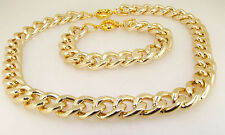 Shiny Cut Faceted LIGHT GOLD Chunky Aluminium Curb Chain Necklace Bracelet E/set